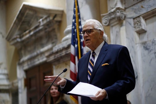 Senate President Thomas V. Mike Miller speaks in the State Senate chamber in Annapolis on Wednesday, Jan. 9, the first day of the state's 2019 legislative session.