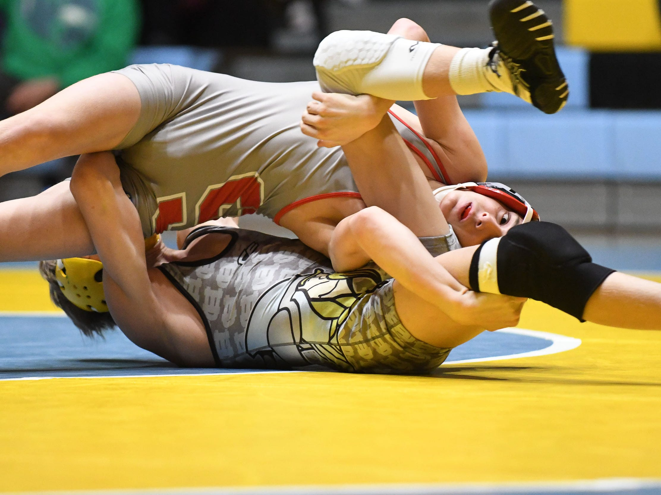 Cape's Carson Kammerer took on Smyrna's Derek Davis during the 120lb weight class on Wednesday, Jan. 10, 2019. Cape won the match 34-33.