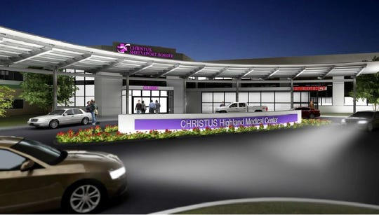 Rendering of exterior of the Christus Highland Medical Center in Shreveport after a planned expansion and renovation.