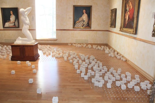 """Ceramics artist Danielle Weigandt installs a 3D art installation representing time and conversations in Norton Art Gallery exhibition, """"The 5th Event: A Conversation in Louisiana."""""""