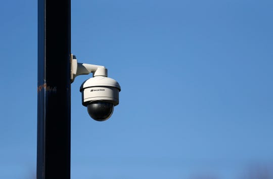 A security camera at the home of B.J. Marsh who runs a travel agency out of his home at Sunshine Street and National Avenue on Wednesday, Jan. 9, 2019.