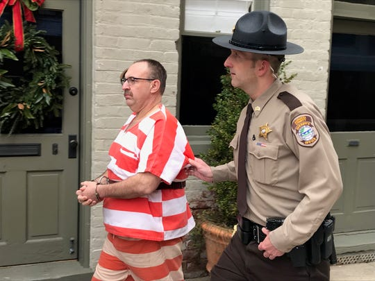 Sgt. Troy Campbell escorts Roger Rexrode from the Augusta County Courthouse on Jan. 9, 2019.