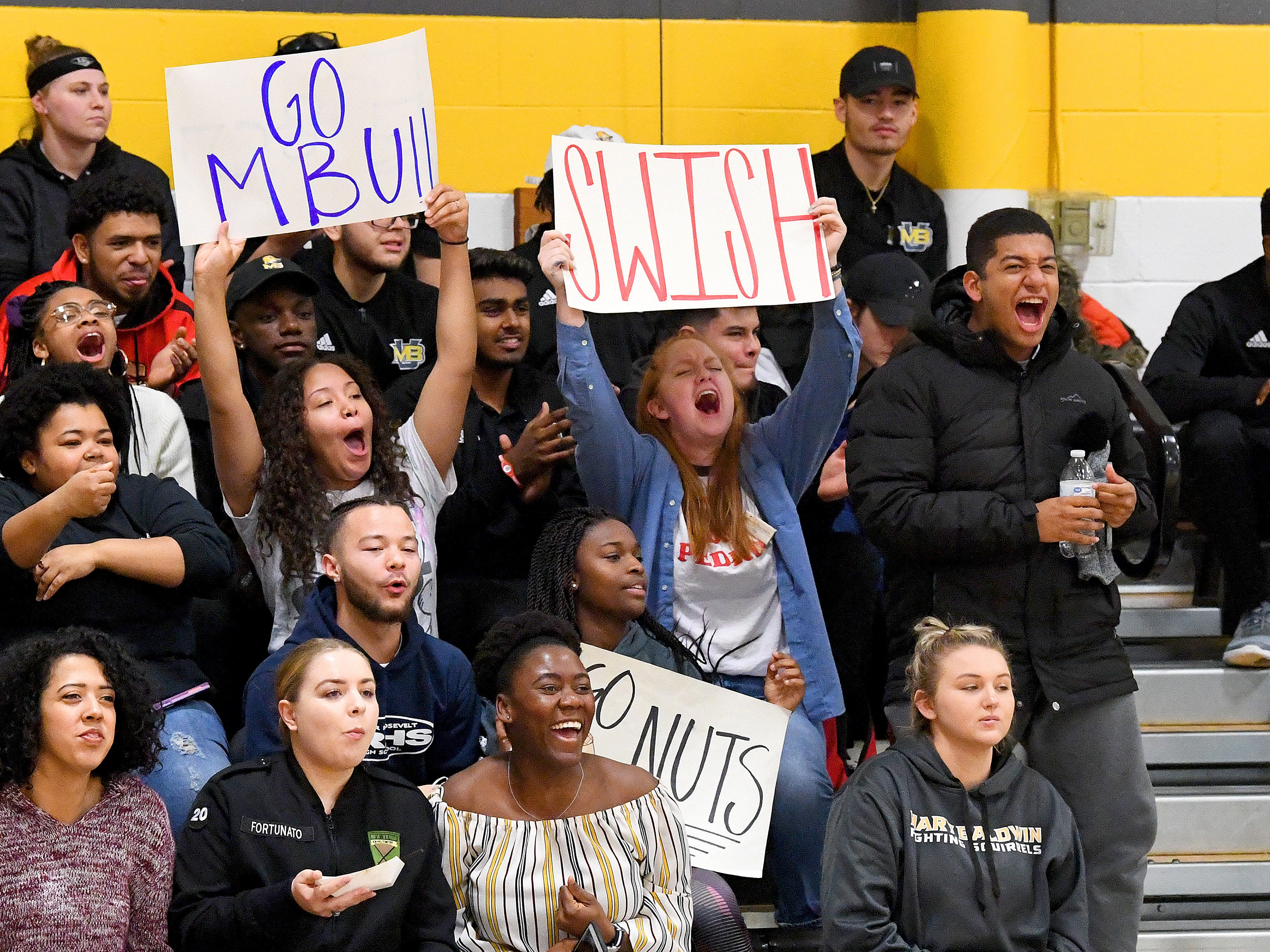 Mary Baldwin fans cheer on their women's basketball team during a USA South conference game against Greensboro College, played in Staunton on Jan. 9, 2019.