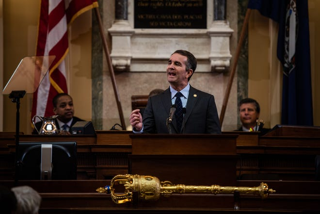 Virginia Gov. Ralph Northam gives his State of the Commonwealth speech in the House chambers at the Capitol in Richmond on Wednesday, Jan. 9, 2019.