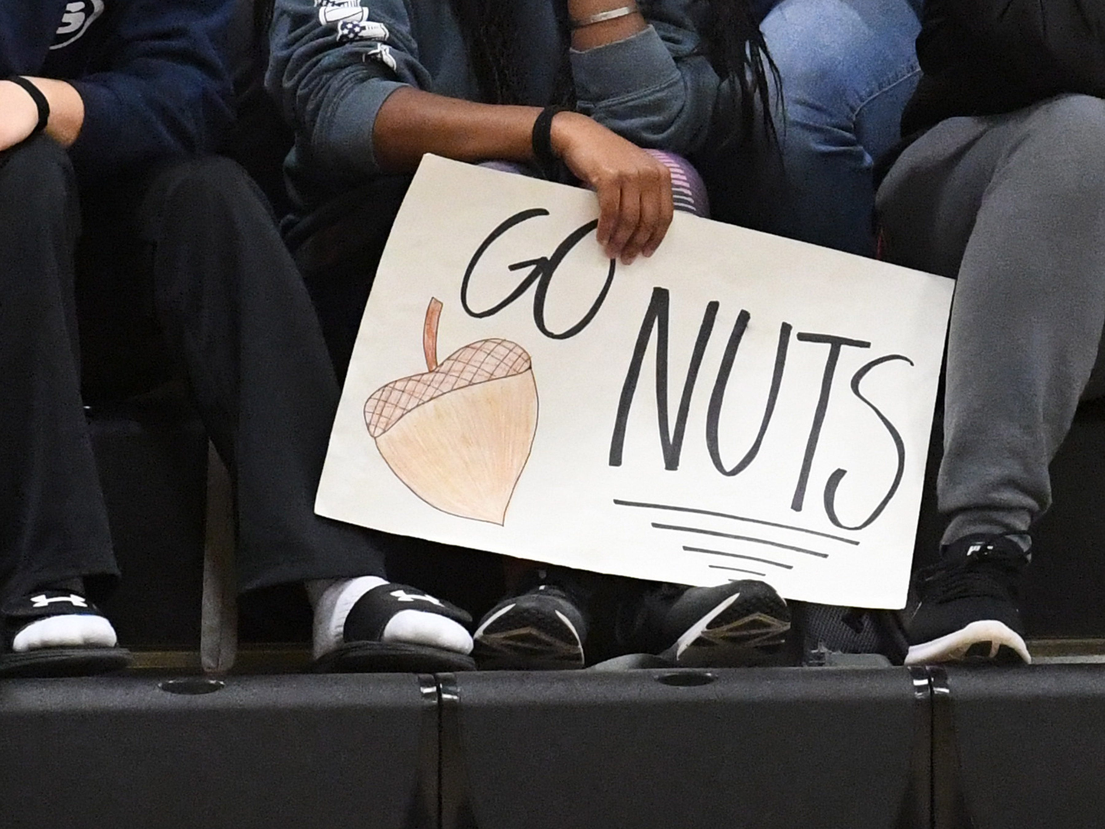 "A Mary Baldwin fan holds a sign that says ""Go Nuts"" during a USA South conference game played in Staunton on Jan. 9, 2019."
