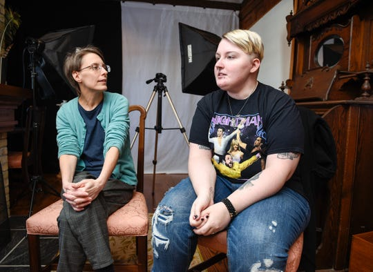 Mary Warner, executive director, Morrison County Historical Society, and Grace Duxbury, museum assistant, talk about collecting examples for the next exhibit on stories behind tattoos Wednesday, Jan. 9, at the Charles A. Weyerhaeuser Memorial Museum in Little Falls.