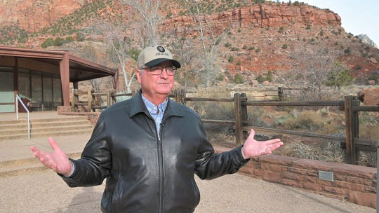 Lyman Hafen, executive director of the Zion National Park Forever Project speaks about the difficulties keeping the park open during the federal government shutdown, January 8, 2019. The park is open through January 12, thanks to several Utah organizations, including the Zion Forever Project.