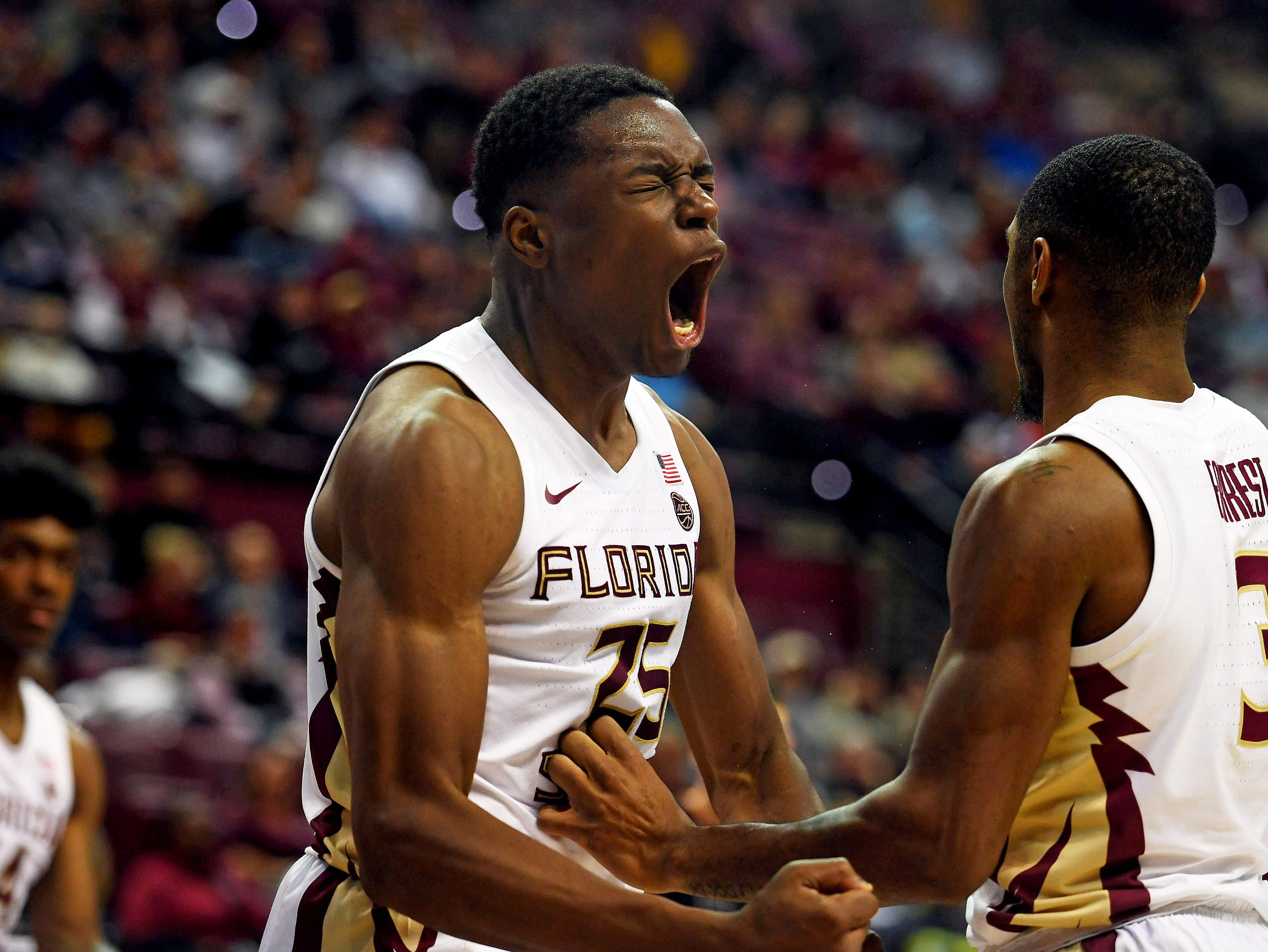 Jan 9, 2019; Tallahassee, FL, USA; Florida State Seminoles forward Mfiondu Kabengele (25) reacts during the second half against the Miami Hurricanes  at Donald L. Tucker Center. Mandatory Credit: Melina Myers-USA TODAY Sports