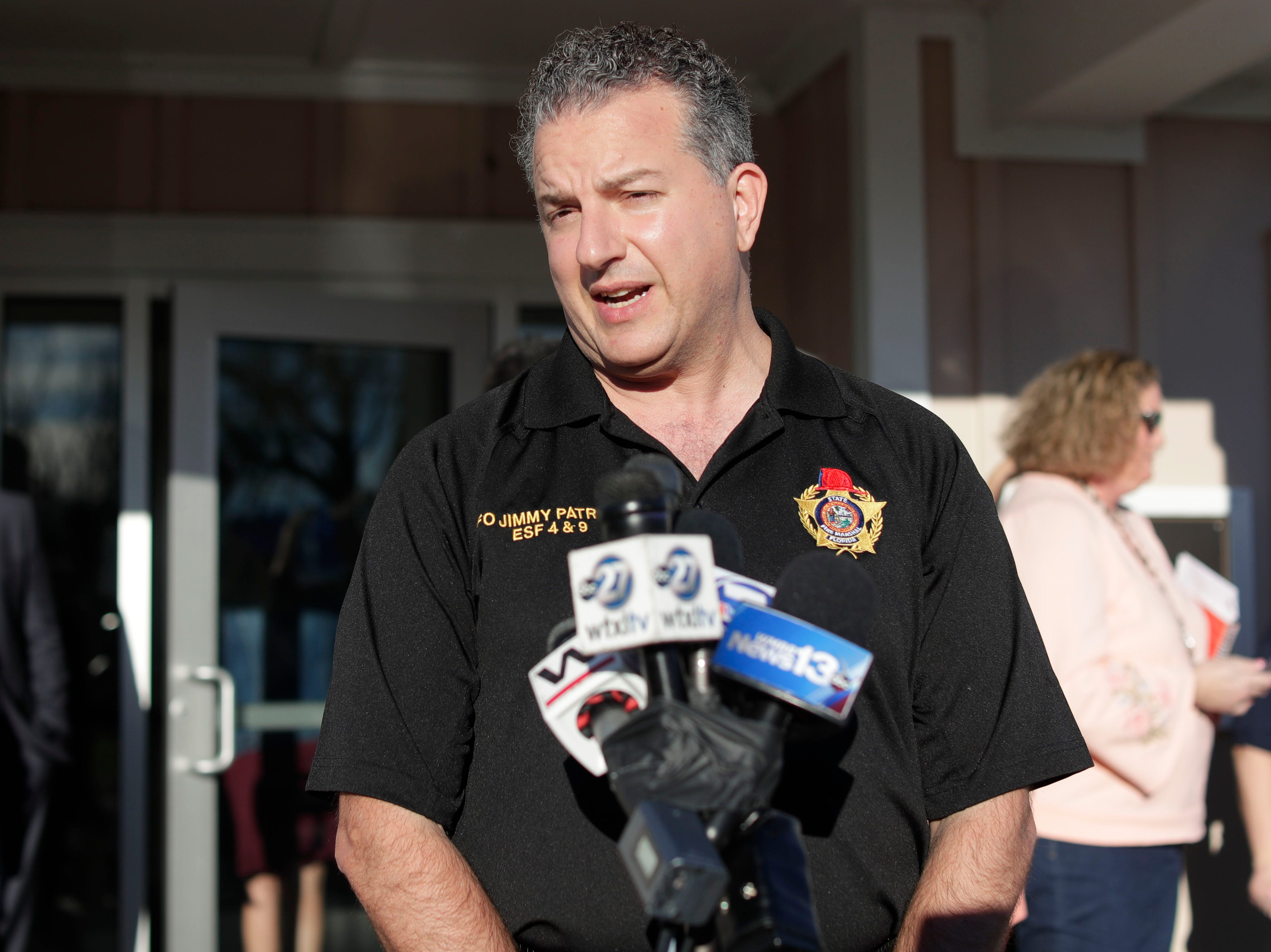 Chief Financial Officer Jimmy Patronis speaks with the media about the steps needed to take in an effort to rebuild Mexico Beach, Wednesday, Jan. 9, 2019. Hurricane Michael left the panhandle in a total disarray on Oct. 10, 2018.