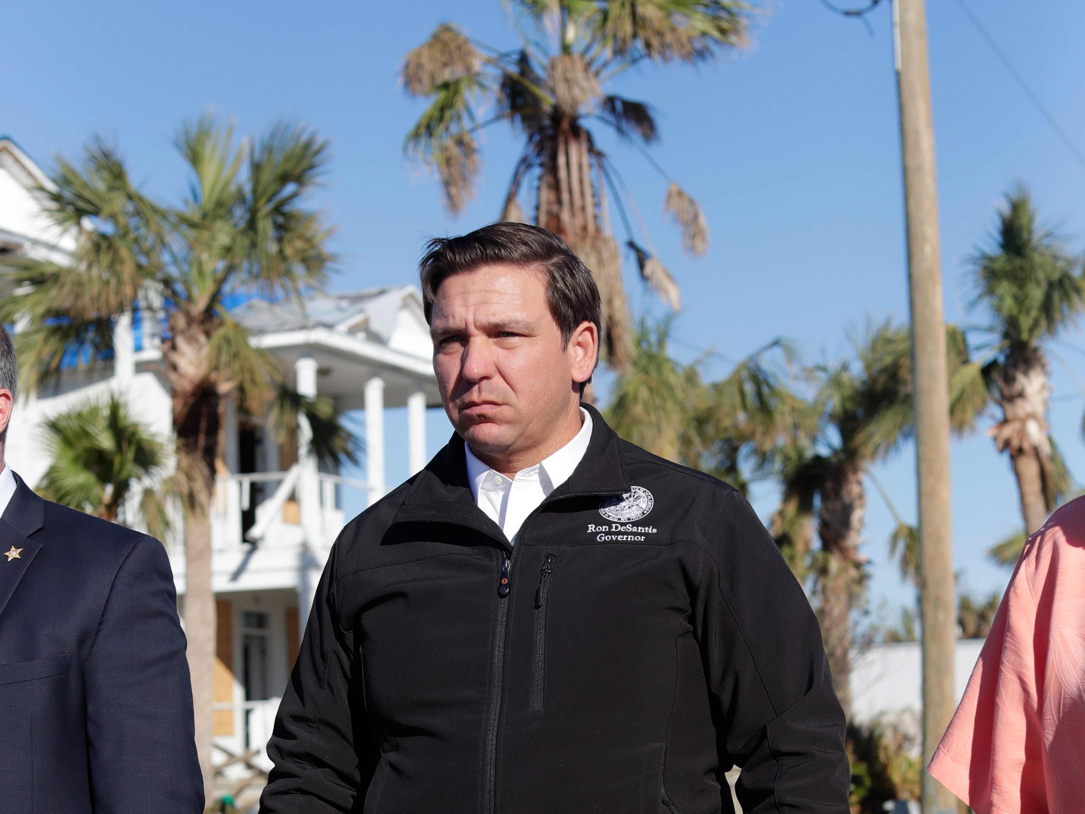 Gov. Ron DeSantis walks the streets of Mexico Beach, Wednesday, Jan. 9, 2019. Hurricane Michael left the panhandle in a total disarray on Oct. 10, 2018.