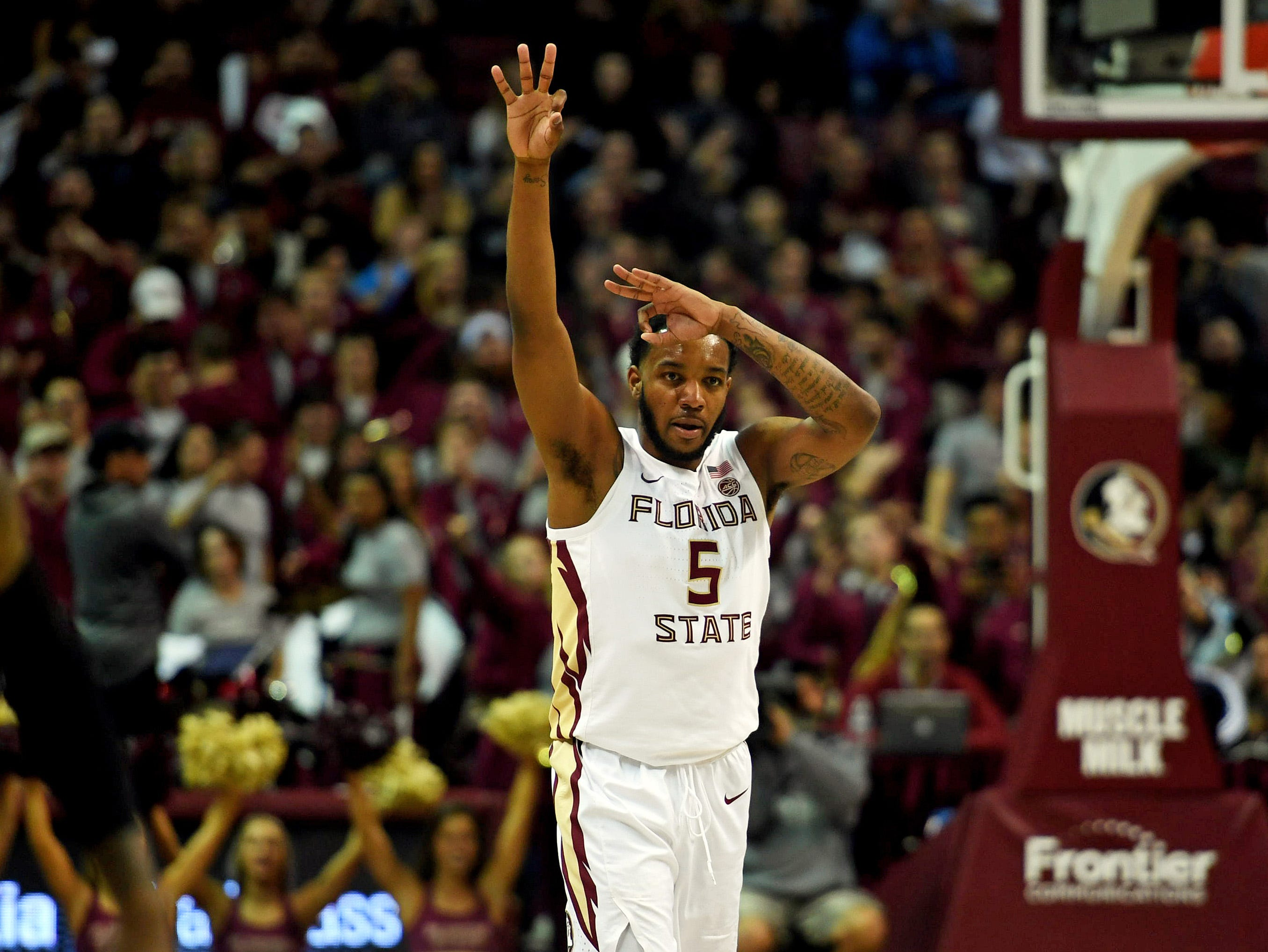 Jan 9, 2019; Tallahassee, FL, USA; Florida State Seminoles guard PJ Savoy (5) celebrates after a three point shot during the second half against the Miami Hurricanes  at Donald L. Tucker Center. Mandatory Credit: Melina Myers-USA TODAY Sports