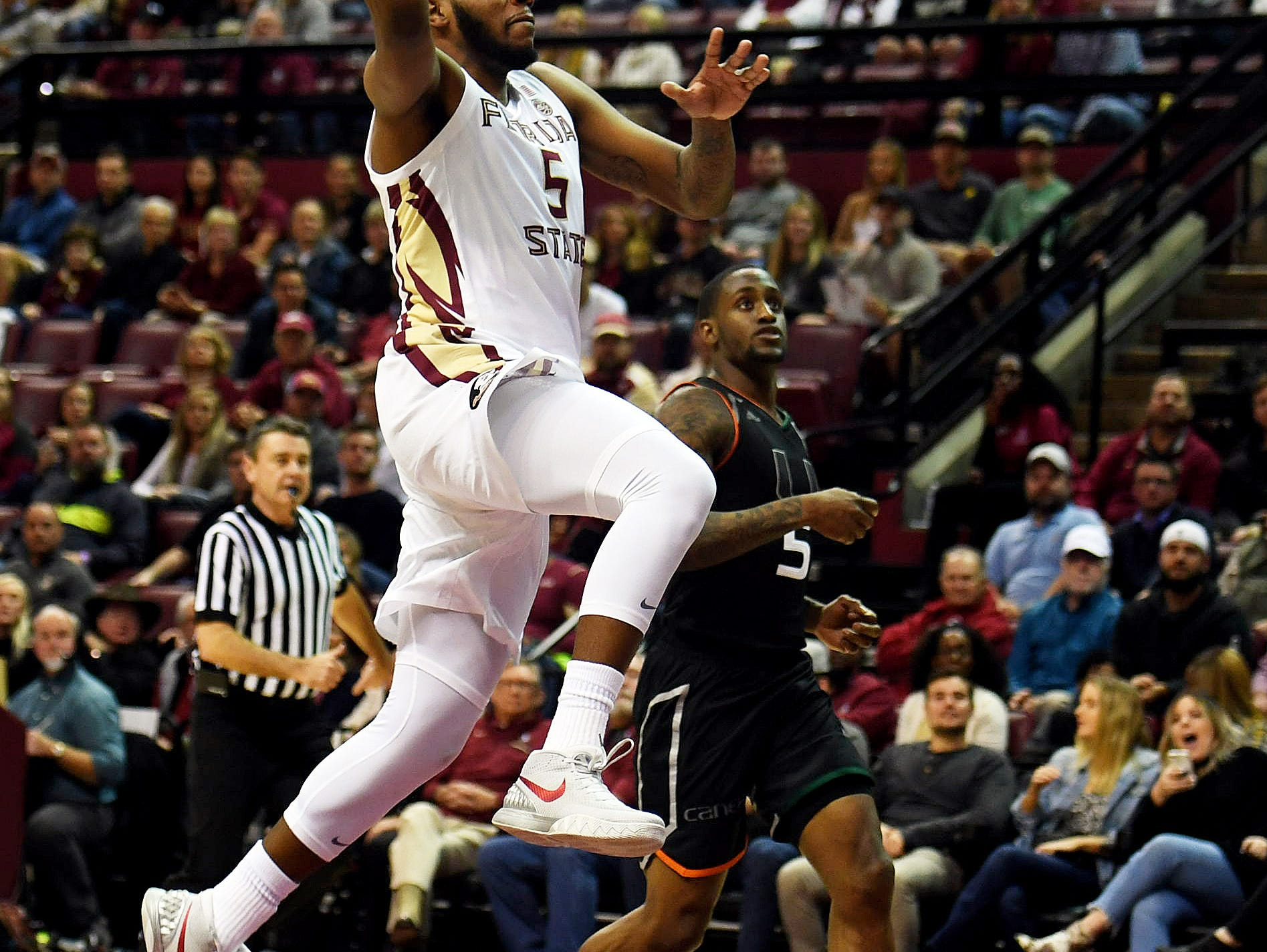 Jan 9, 2019; Tallahassee, FL, USA; Florida State Seminoles guard PJ Savoy (5) shoots the ball during the first half against the Miami Hurricanes at Donald L. Tucker Center. Mandatory Credit: Melina Myers-USA TODAY Sports