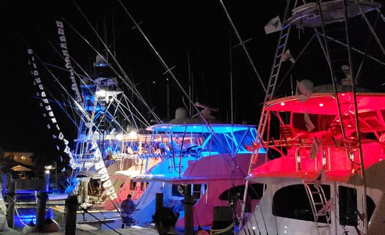 Flags were aflying Wednesday night at the Pelican Yacht Club in Fort Pierce.