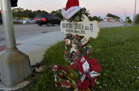 A memorial for crash victim Jose Antonio Cuevas is seen on Monday, Dec. 31, 2018, at the southeast corner of Port St. Boulevard at Southwest Cameo Boulevard, just west of the Florida Turnpike in Port St. Lucie. Cuevas, 25, of Stuart, died from injuries sustained in a two vehicle crash on Port St. Lucie Boulevard that sent Cuevas' Mazda into a concrete light pole and electrical box before his car caught fire, on Sunday, May 6, 2018. Brett Collins, 70, driver of the Kia Forte involved in the crash along with his passenger Sheila Collins, 74, both of Port St. Lucie, were reported to be in critical condition at the time of the crash.