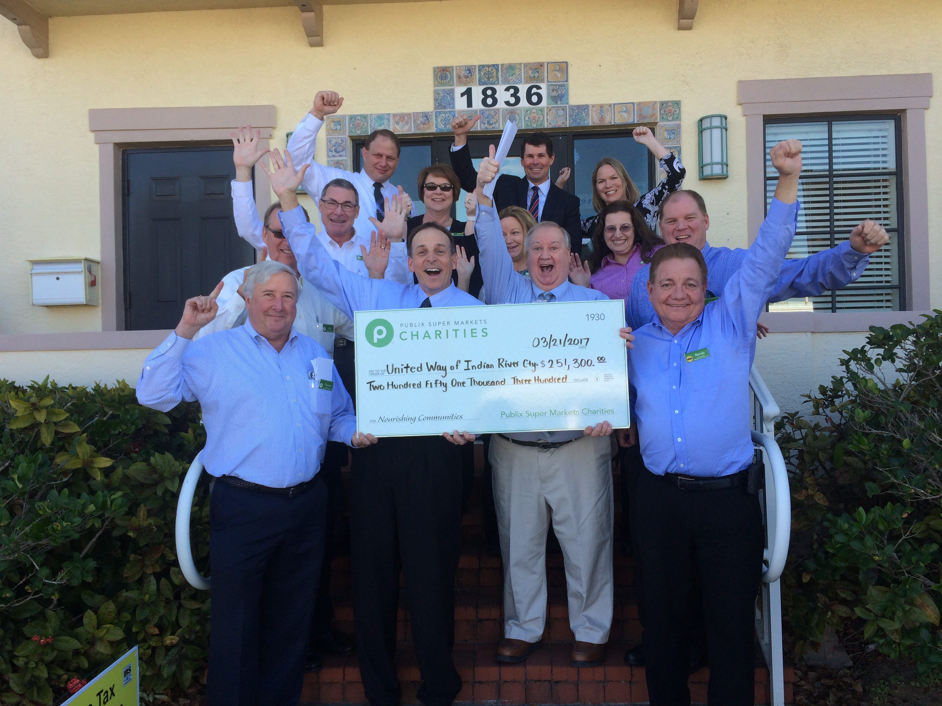 Publix Super Market Charities donated $251,300 to the United Way of Indian River County in 2017. Here, United Way and Publix staff celebrate the end of the 2016-17 campaign.