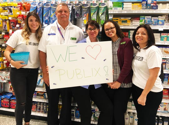 United Way of Indian River County is proud of its decades-long relationship with Publix Super Markets and itsphilanthropic powerhouse of associates. United Way staff thank Publix employees Doug Cochran, Melissa Ogonoski and  Marsha Keller at Publix Appreciation Day 2018.