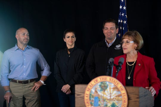 State Sen. Gayle Harrell praises Gov. Ron DeSantis at a press conference in Stuart in January.