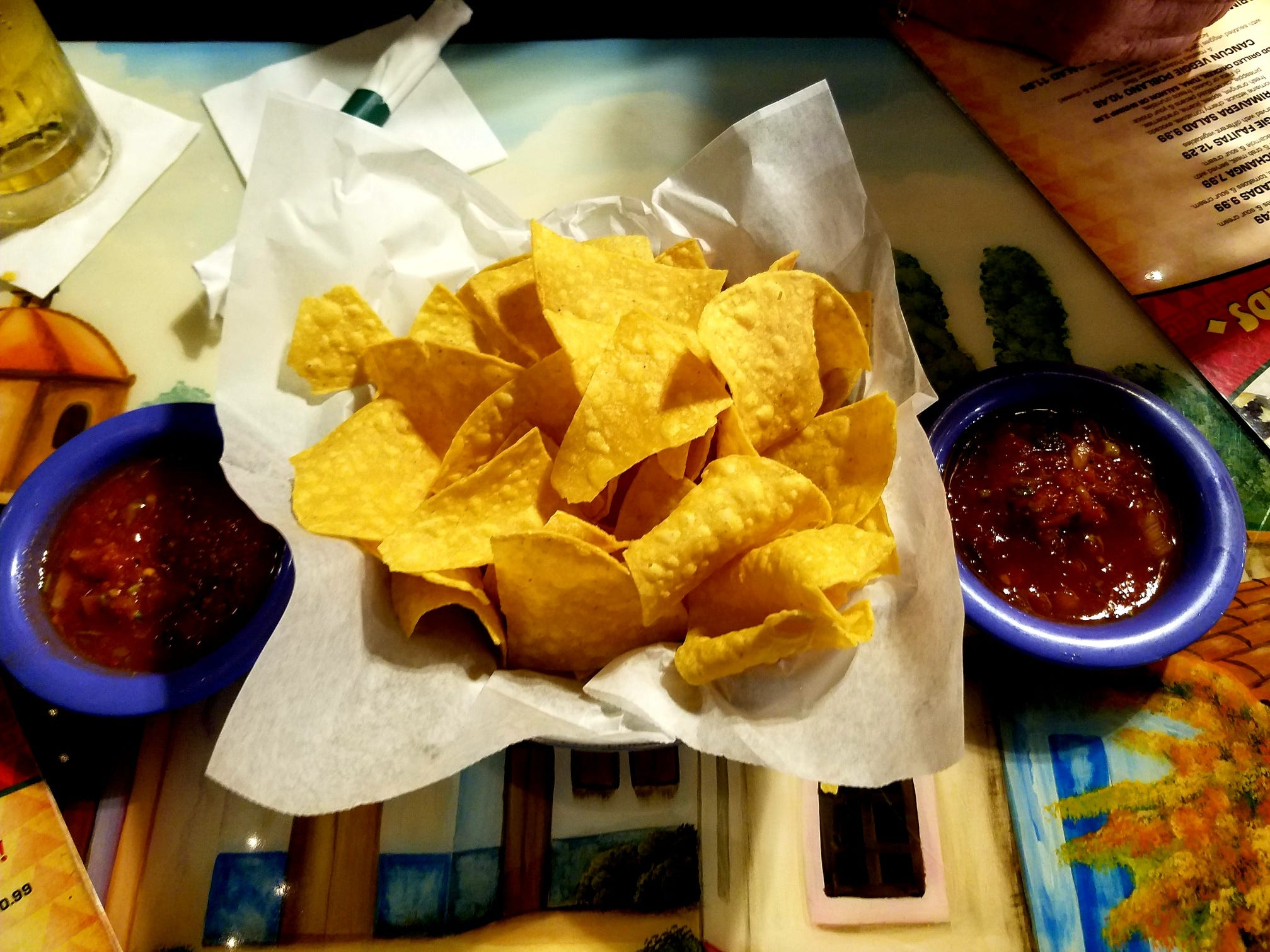 La Marimba in Stuart provided complimentary chips and a salsa cup for each of us.