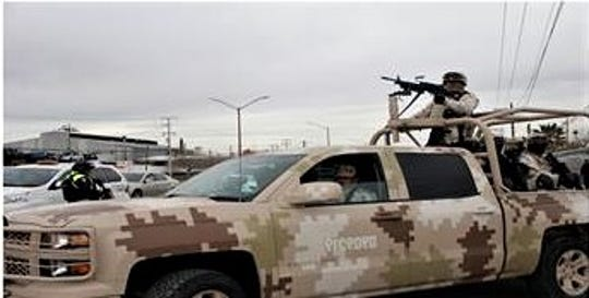 The Mexican military takes part in a police operation in the border city of Juárez, Mexico.