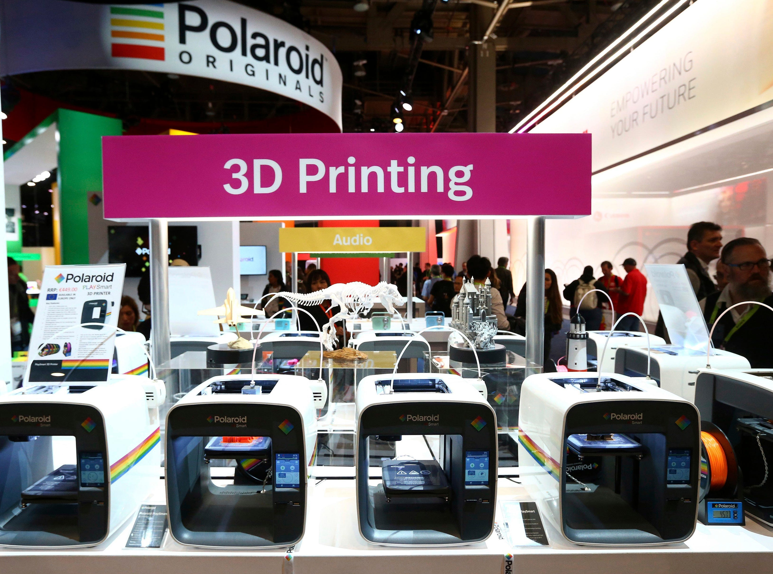 Polaroid shows off a variety of 3D printers at CES International on Wednesday, Jan. 9, 2019, in Las Vegas.