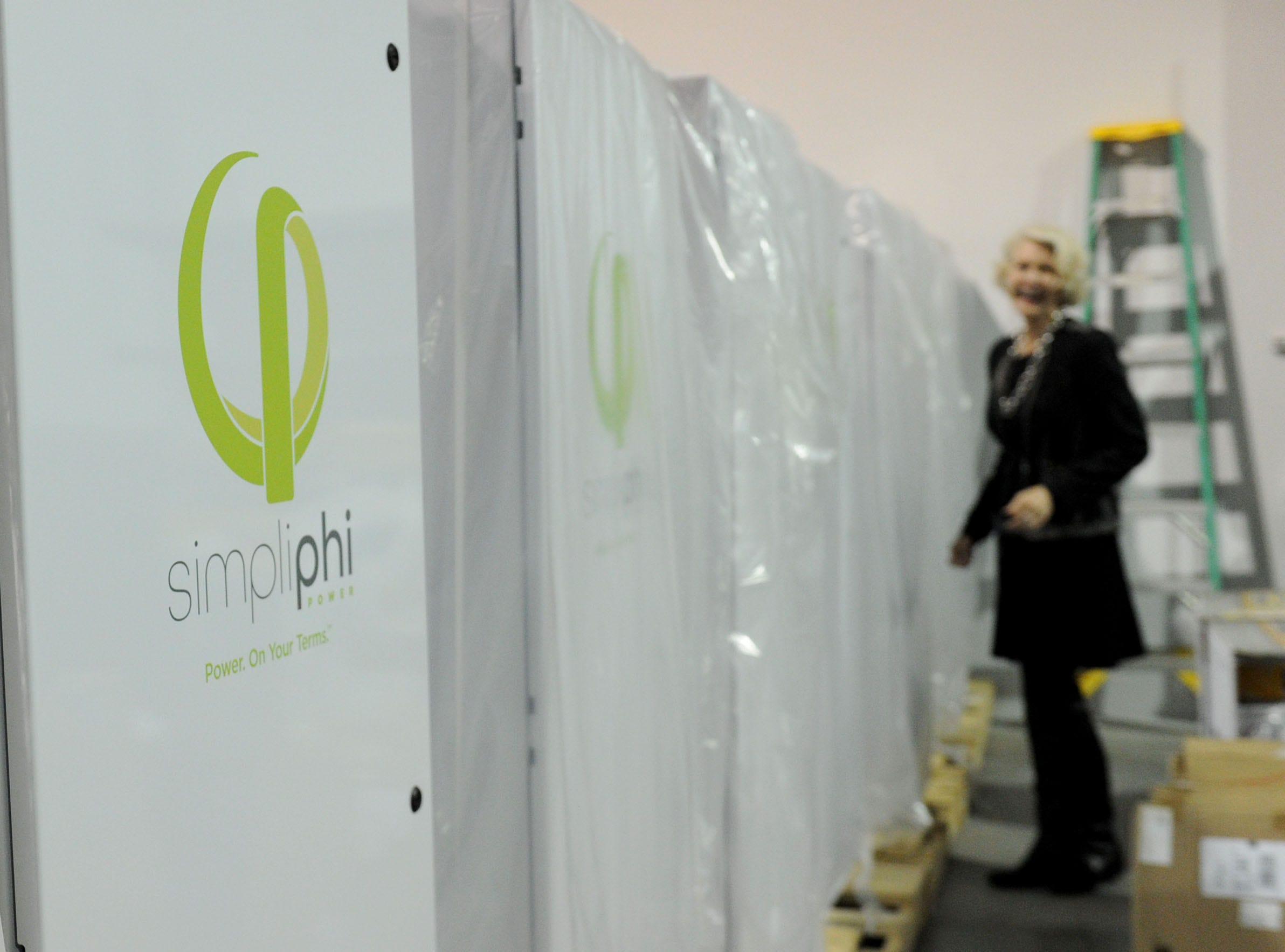Catherine Von Burg, CEO and president of Ojai-grown energy storage technology company SimpliPhi Power, is shown in the company's new Oxnard facility. The company recently moved from Ojai because it needed more space and hopes to grow its international business.