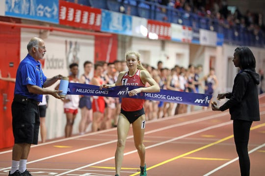 North Rockland's Katelyn Tuohy wins the Girls invitational mile during the Millrose Games Trials at the Armory in Manhattan Jan. 9, 2019.