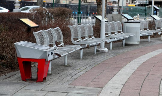 A charging station in the plaza outside the New Rochelle Public Library, photographed Jan. 10, 2019, is part of the city's efforts to make the downtown area attractive to millennials.