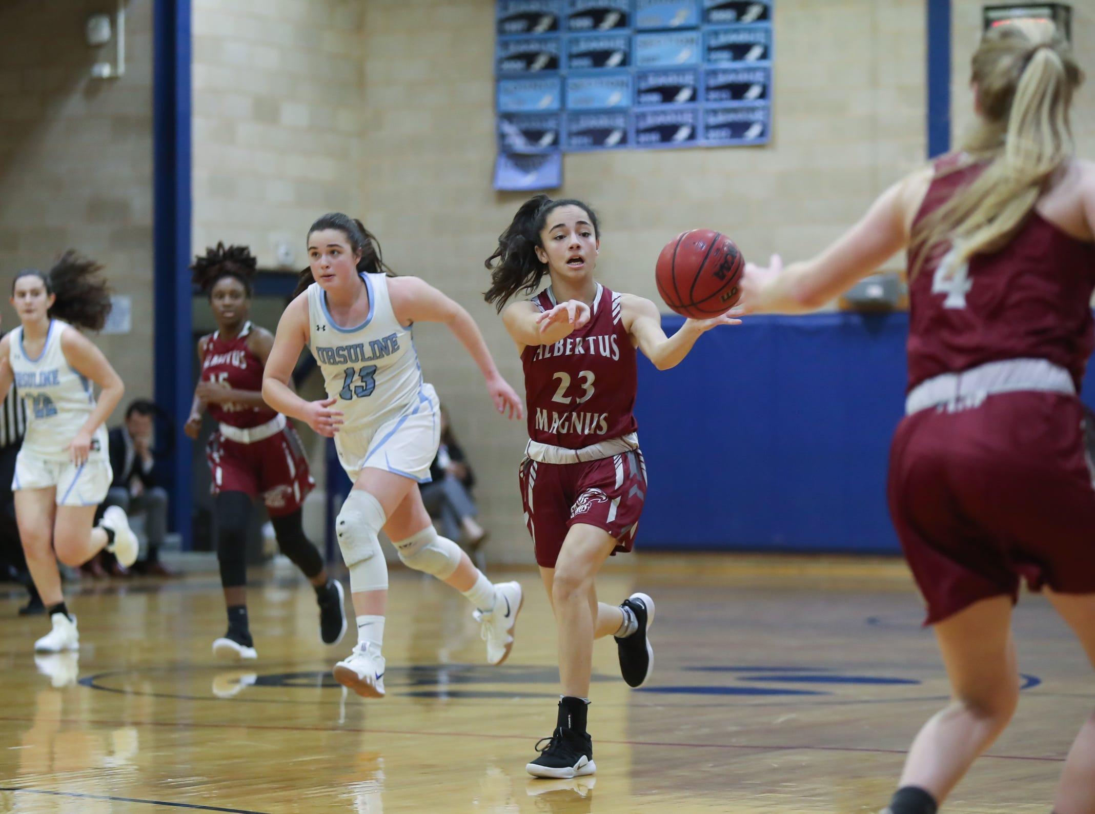 Ursuline defeats Albertus 68-48 in girls varsity basketball action at The Ursuline School in New Rochelle on Wednesday, January 9, 2019.