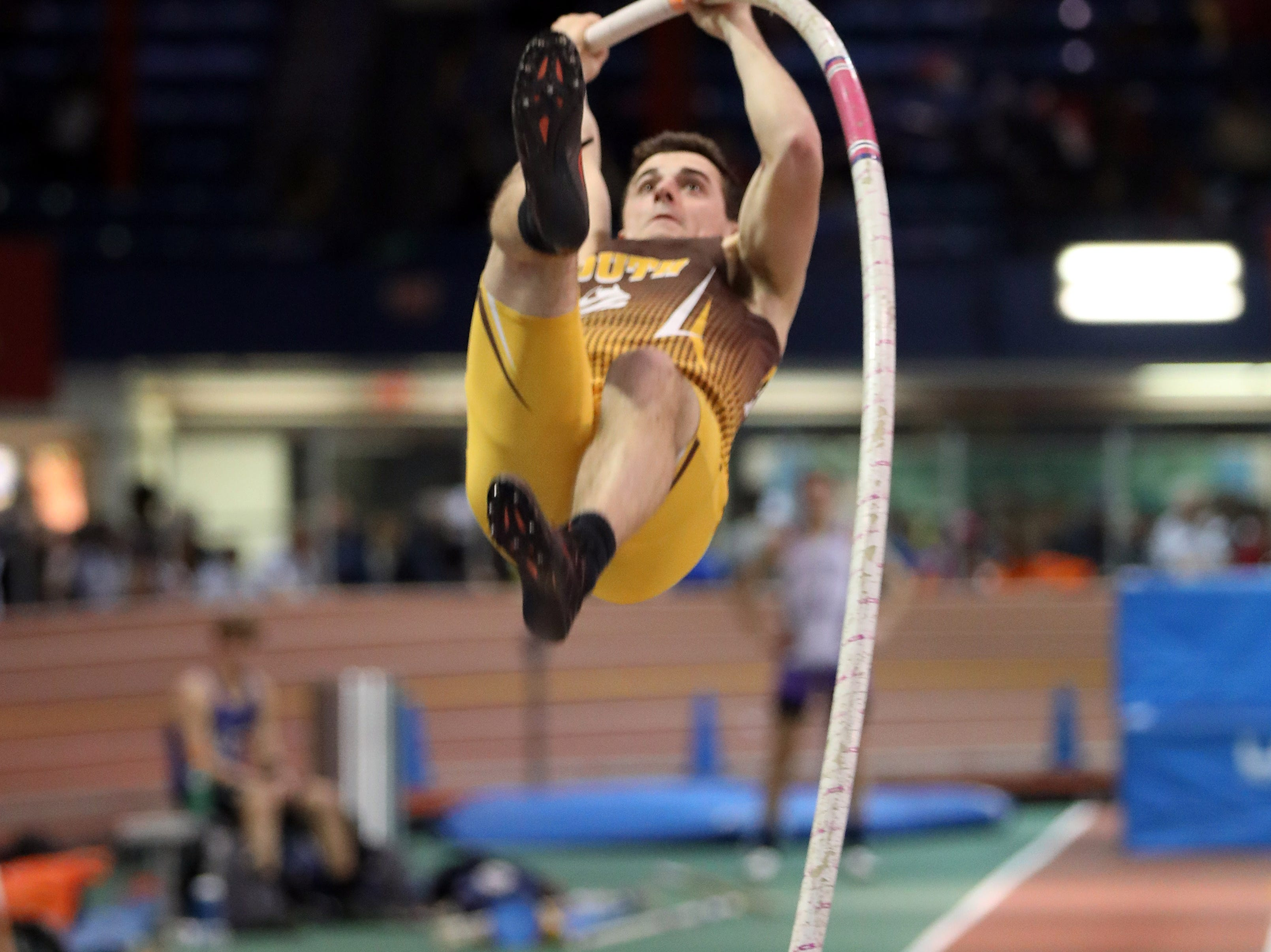 Clarkstown South's Tommy Qualter competes in the boys pole vault during the Millrose Games Trials at the Armory in Manhattan Jan. 9, 2019.