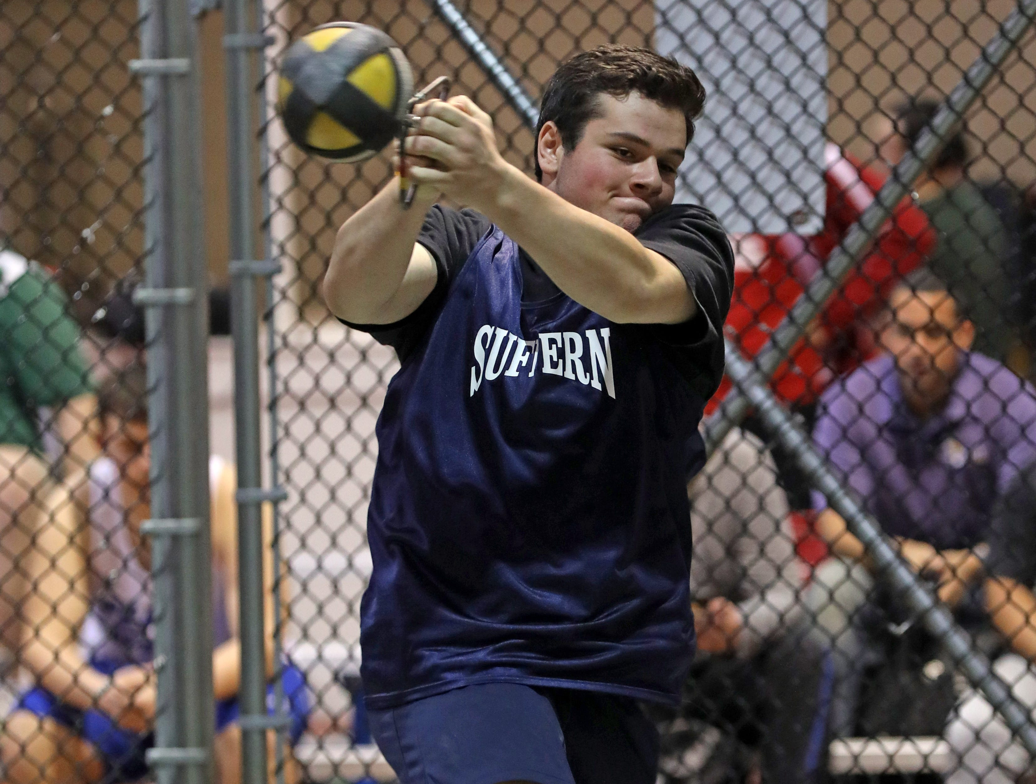 Suffern's Brian Bonnist competes in the boys weight throw during the Millrose Games Trials at the Armory in Manhattan Jan. 9, 2019.