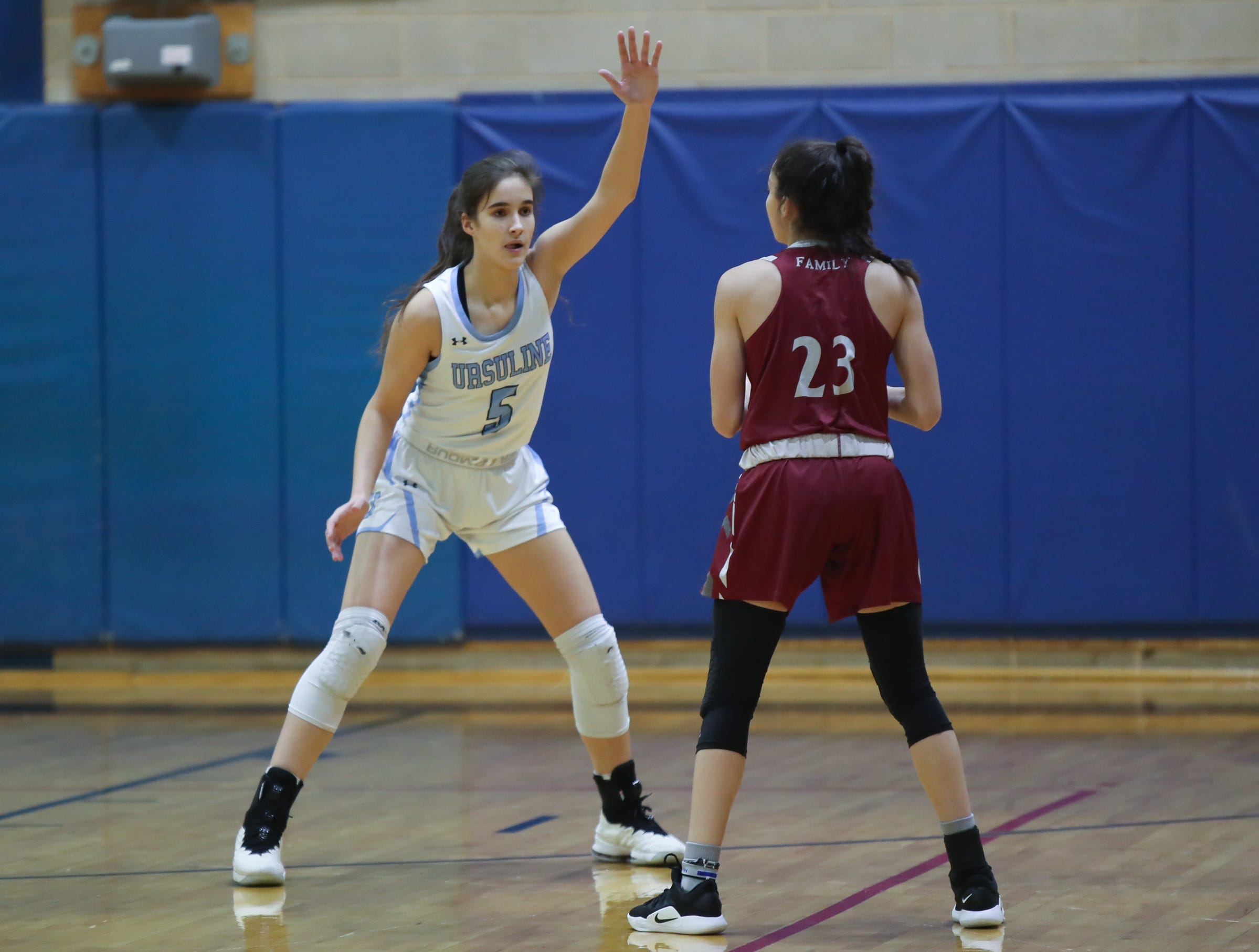 Ursuline's Sonia Citron (5) plays defense against Albertus' Paulina Paris (23) during girls varsity basketball action at The Ursuline School in New Rochelle on Wednesday, January 9, 2019.  Ursuline defeated Albertus 68-48.