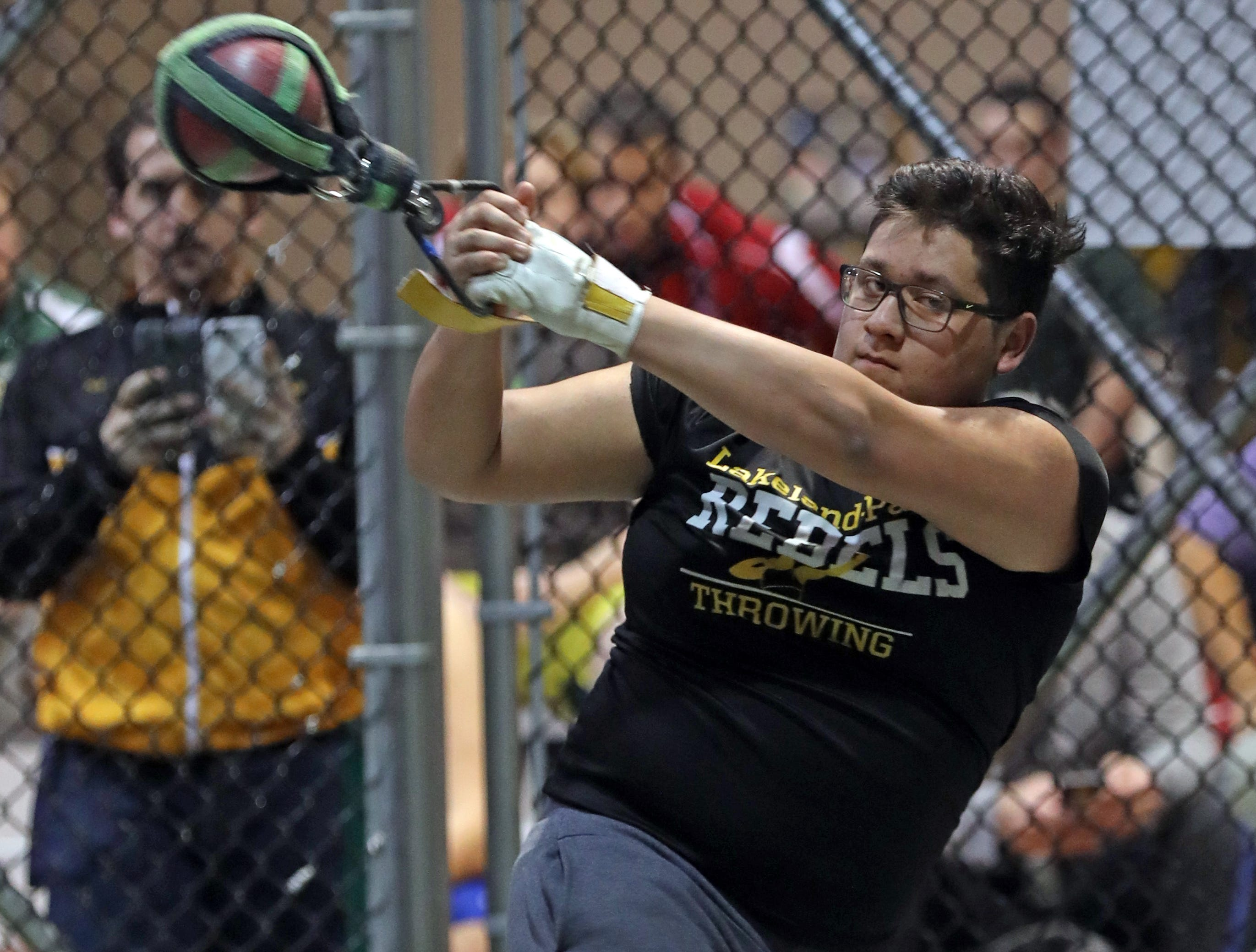 Lakeland Panas' William Calderon competes in the boys weight throw during the Millrose Games Trials at the Armory in Manhattan Jan. 9, 2019.