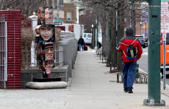 Artwork has been installed in several locations in downtown New Rochelle, as seen on Huguenot St. Jan. 10, 2019 as part of the city's efforts to make the downtown area attractive to millennials.