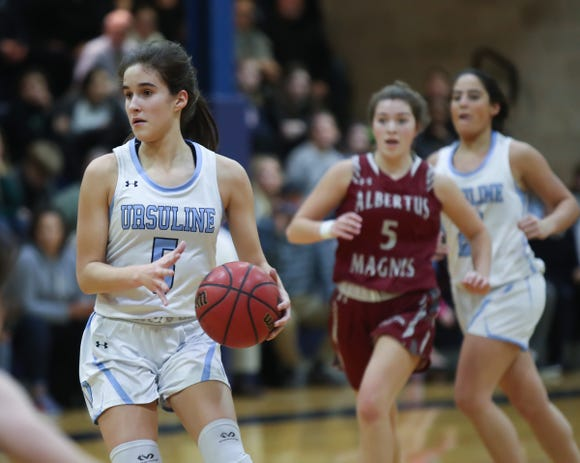 Sonia Citron (5) sets for a shot during girls varsity basketball action at The Ursuline School in New Rochelle on Wednesday, January 9, 2019.  Ursuline defeated Albertus 68-48.