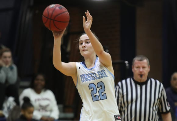 Ursuline's Alexa Quirolo (22) puts up a shot during girls varsity basketball action at The Ursuline School in New Rochelle on Wednesday, January 9, 2019.  Ursuline defeated Albertus 68-48.