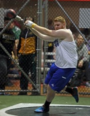 Pearl River's Jack McCormack competes in the boys weight throw during the Millrose Games Trials at the Armory in Manhattan Jan. 9, 2019.