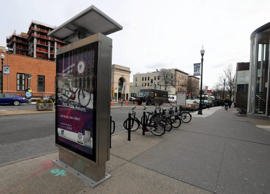 A bike share station on North Ave. in New Rochelle, photographed Jan. 10, 2019, is part of the city's efforts to make the downtown area attractive to millennials.