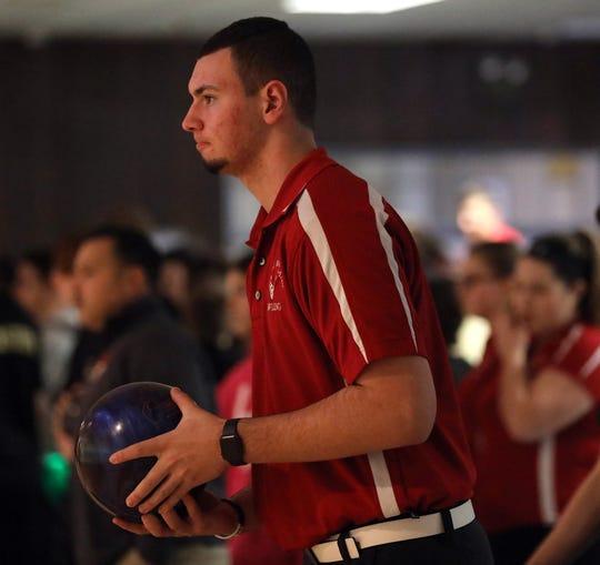 North Rockland's  Nick Varano bowls during  North Rockland verses Nyack bowling match at Montvale Lanes on Jan. 8, 2019.