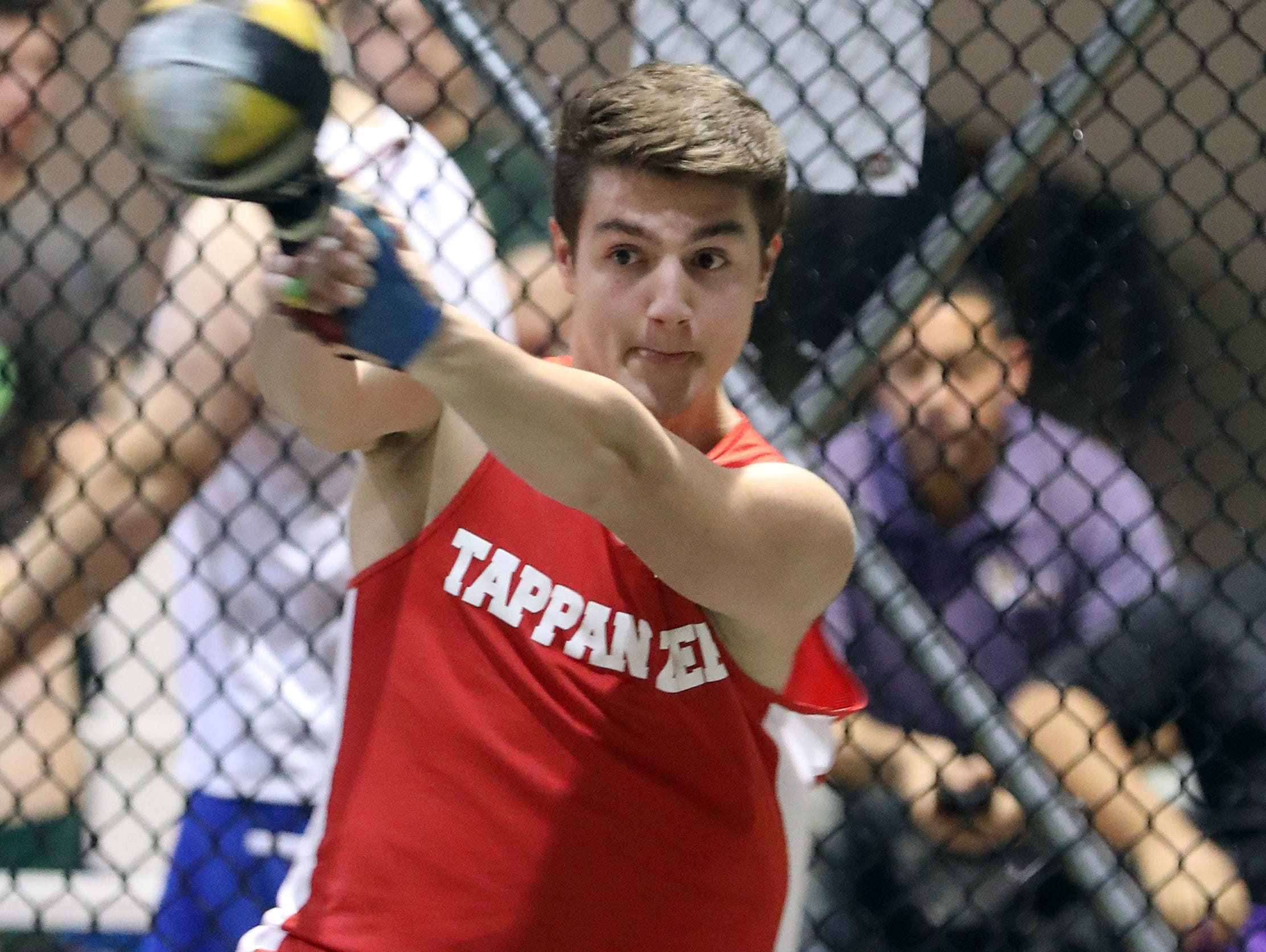 Tappan Zee's Achilles Mouzakis competes in the boys weight throw during the Millrose Games Trials at the Armory in Manhattan Jan. 9, 2019.