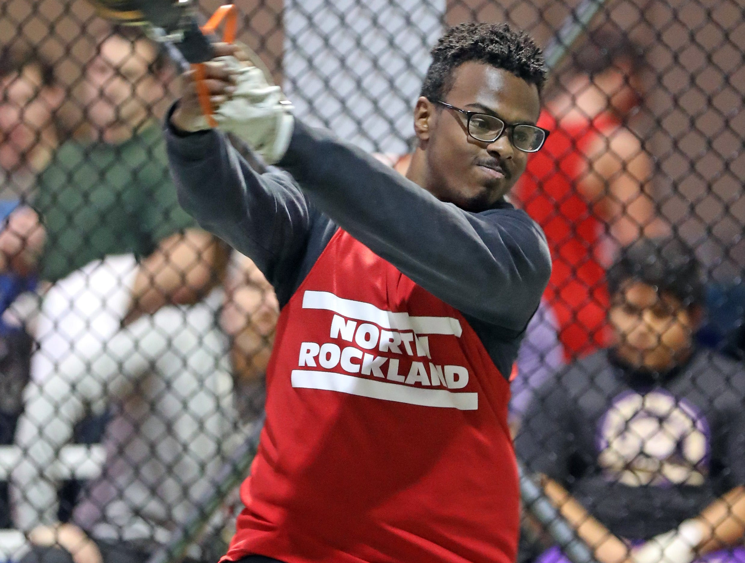 North Rockland's Francis Vargas competes in the boys weight throw during the Millrose Games Trials at the Armory in Manhattan Jan. 9, 2019.