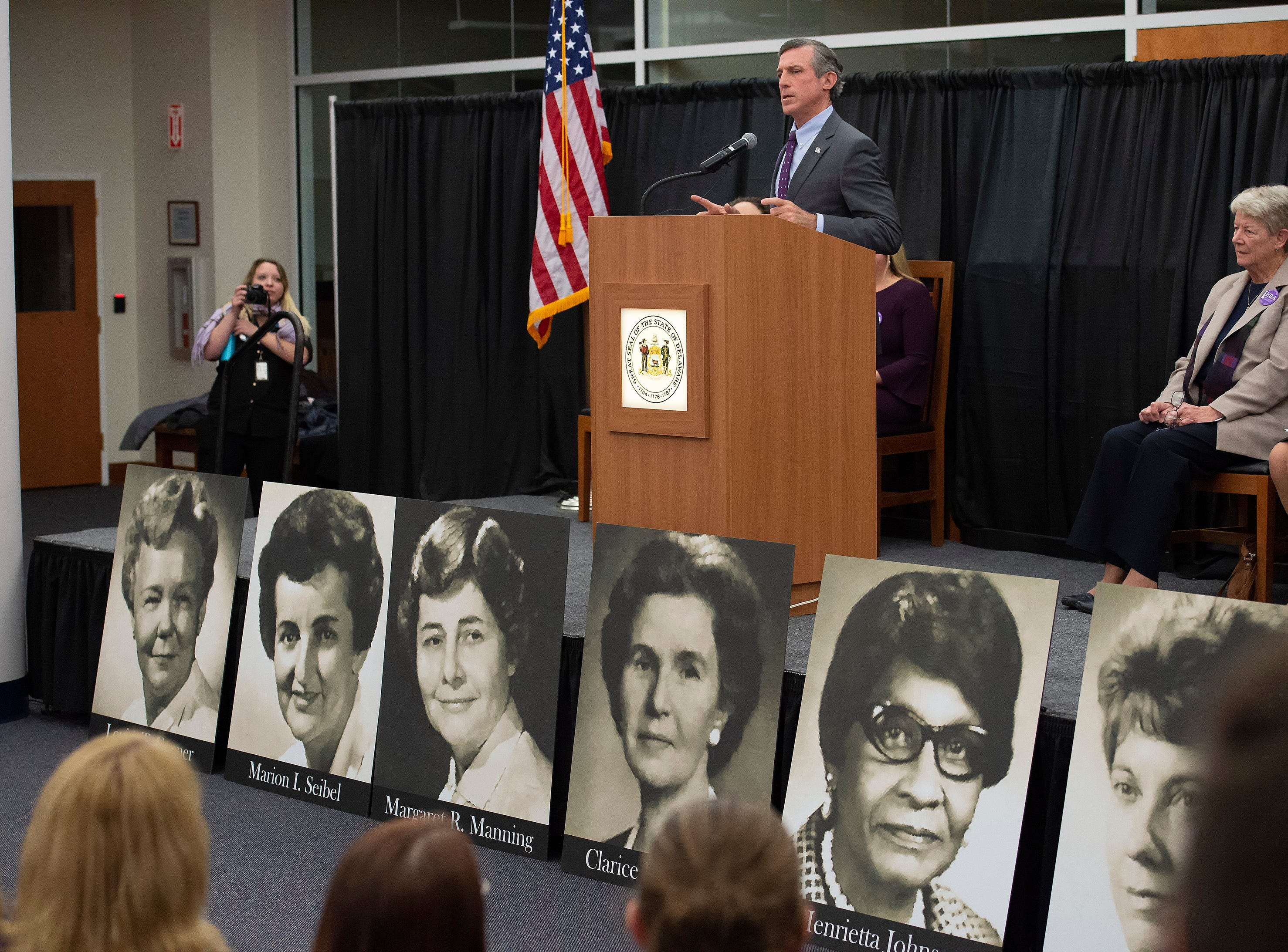 Governor John Carney welcomes everyone to the event at the Delaware Public Archives honoring the women of the 126th General Assembly.