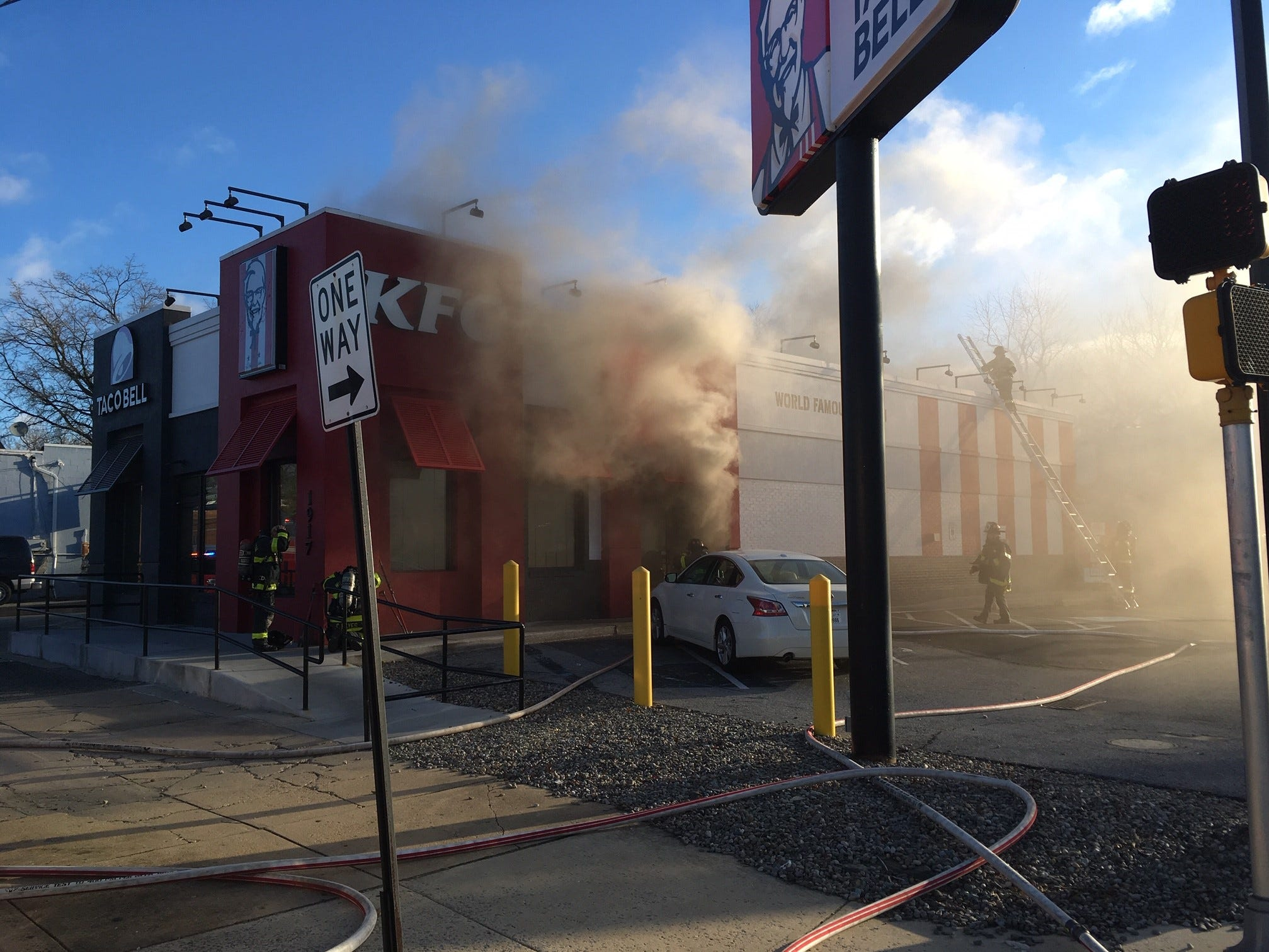 The KFC/Taco Bell on Lancaster Avenue in Wilmington caught fire Thursday morning.