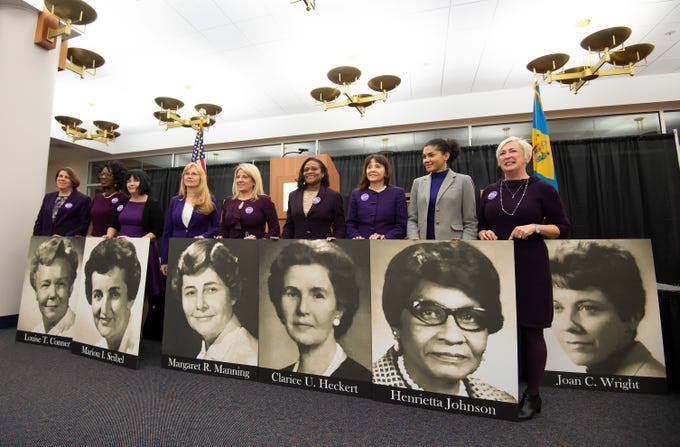 Delaware legislators pose for a photo during an event at the Delaware Public Archives honoring the women of the 126th General Assembly.