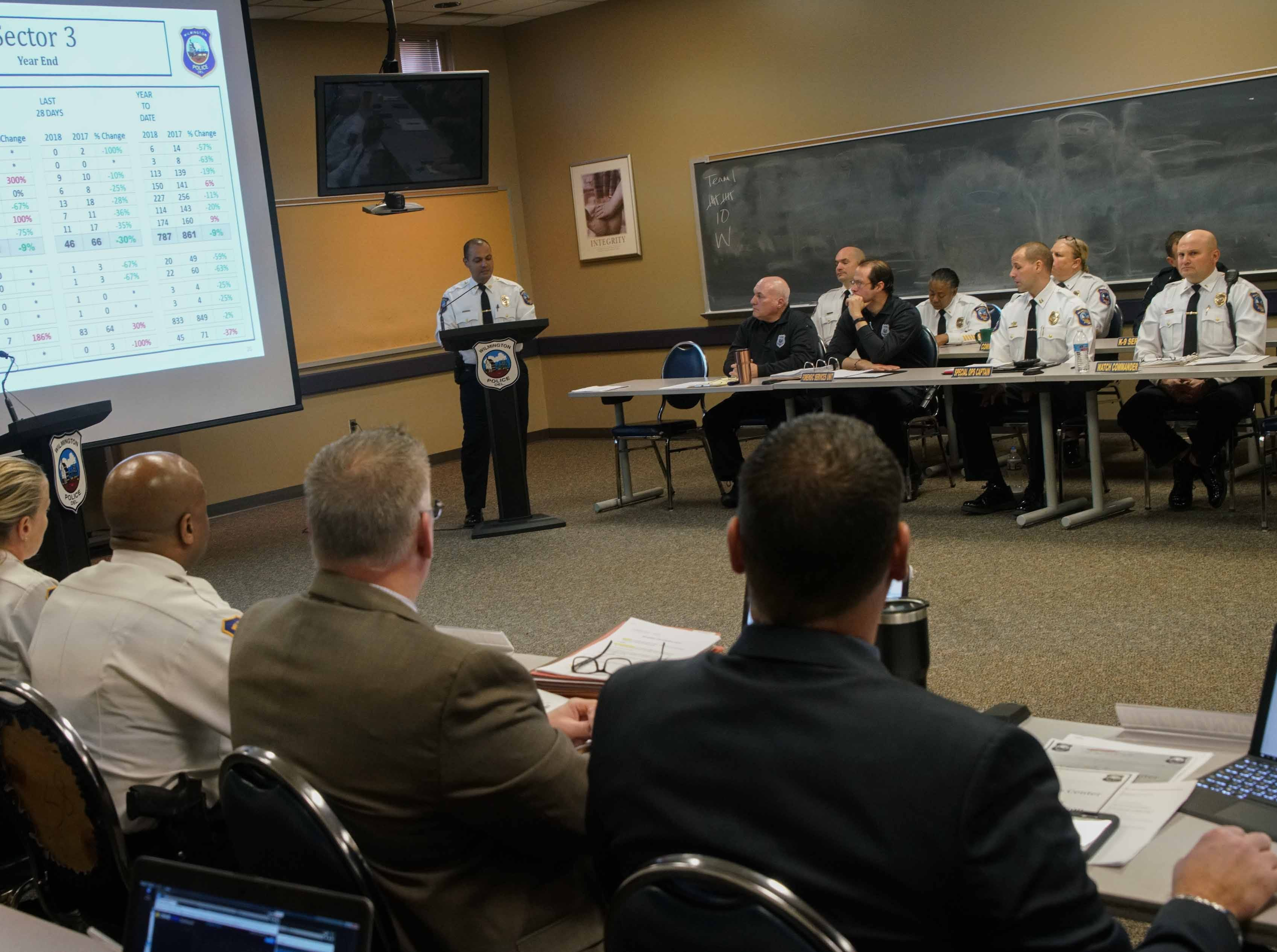 Members of the Wilmington Police Department listen to results for the 2018 Compstat report that indicated a reduced trend in crime.
