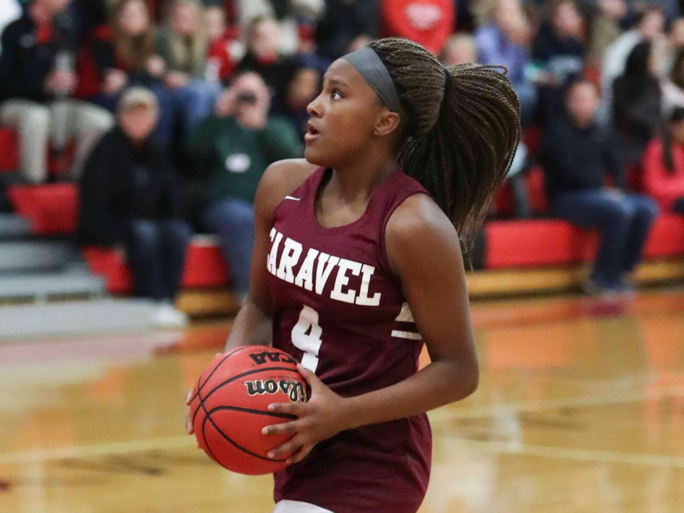 Caravel's Sasha Marvel goes for two points after a steal in the Bucs' 42-31 win at Ursuline Wednesday.