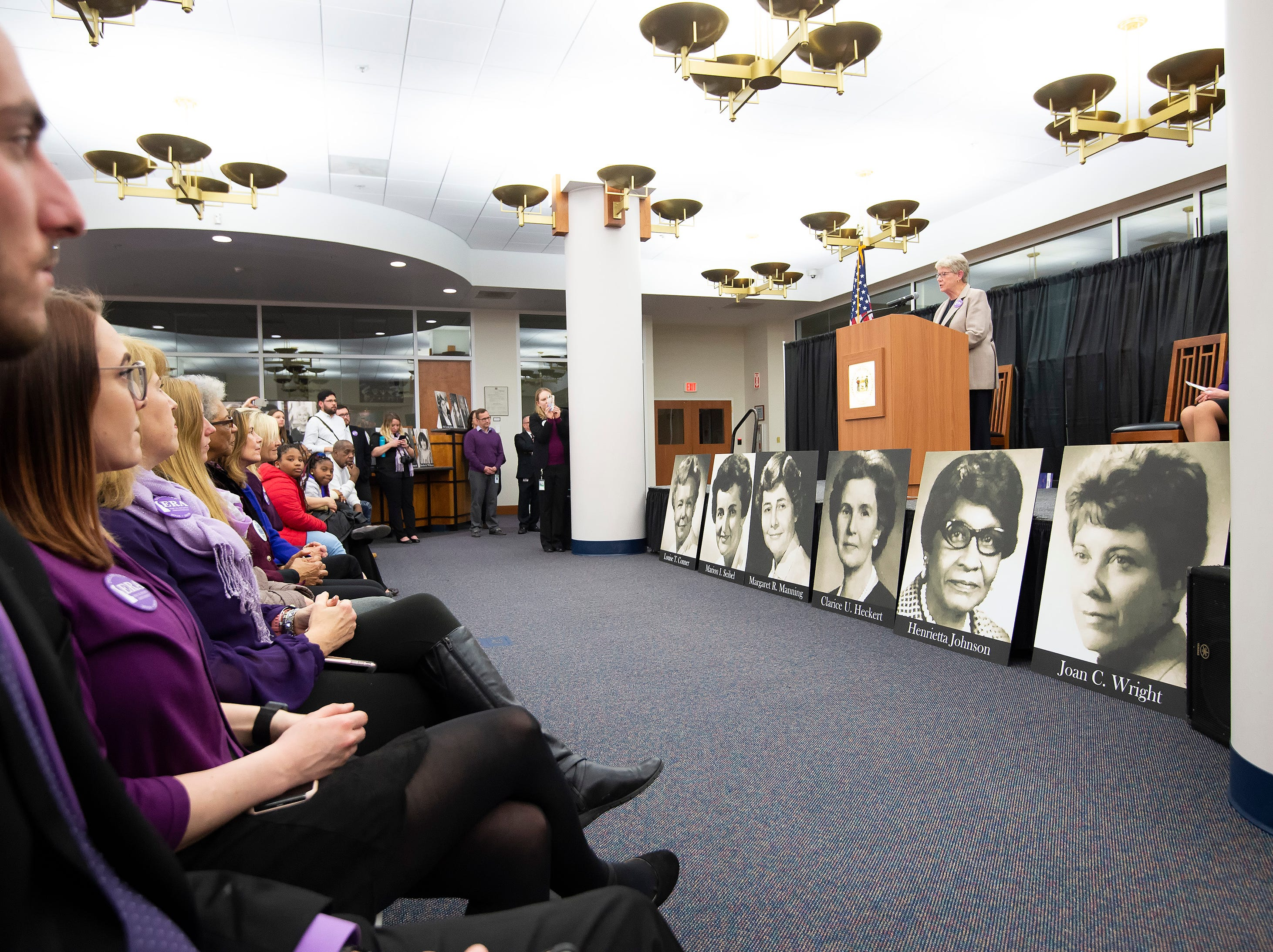 Sen. Karen E. Peterson gives remarks during an event at the Delaware Public Archives honoring the women of the 126th General Assembly.