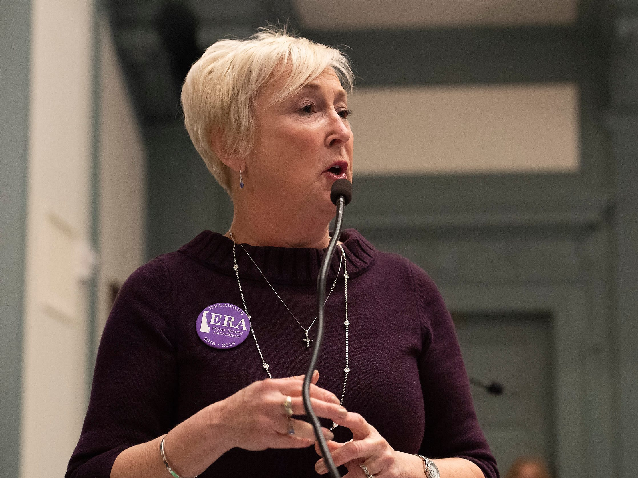 Ruth Briggs King, R-Georgetown gives her remarks in support of House Bill 1, equal rights amendment to the state constitution, during session at Legislative Hall in Dover.