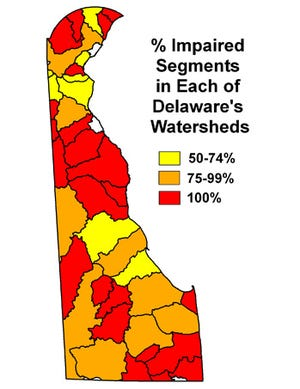 A map of where Delaware's water faces the most problems with pollution.