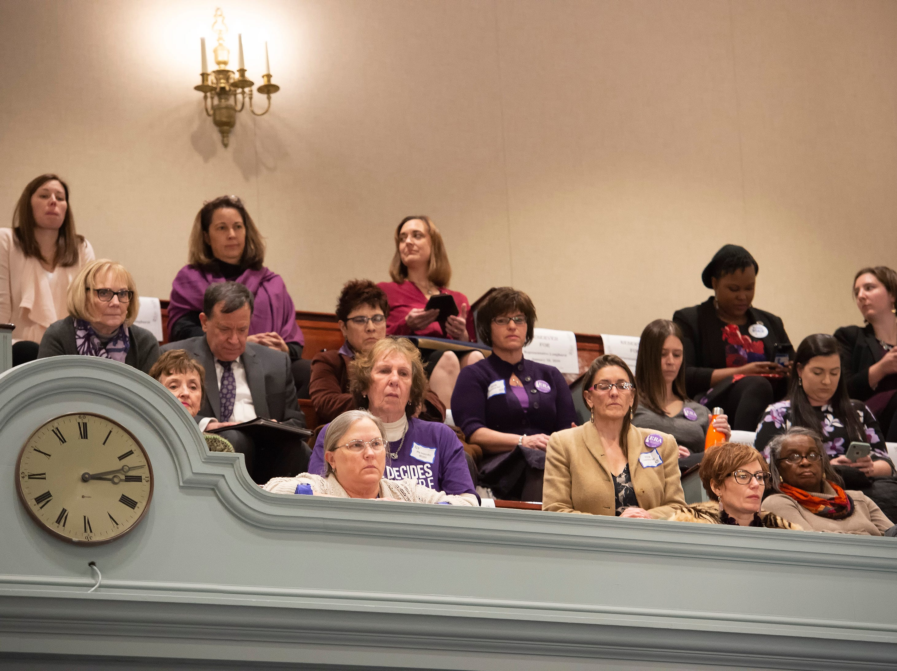 Visitors to Legislative Hall listen as House Majority Leader, Valerie Longhurst, D-Red Lion  introduces House Bill 1, equal rights amendment to the state constitution, during session at Legislative Hall in Dover.
