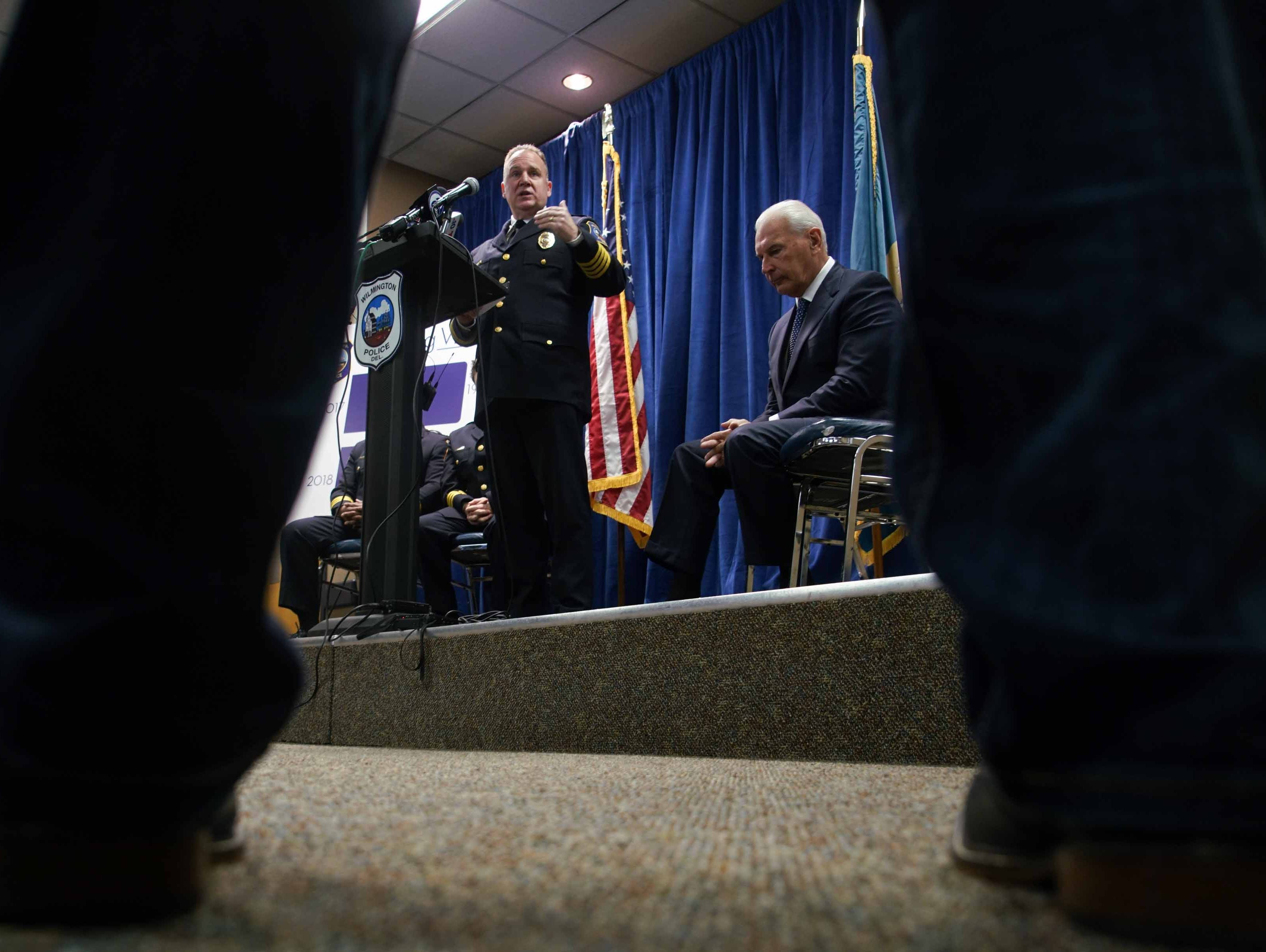 Wilmington Police Chief Robert Tracy speaks at press conference to announce the results from the 2018 Comstat crime summary that indicated in a reduction in crime in the City of Wilmington. Wilmington Mayor Mike Purzycki listens on the side.
